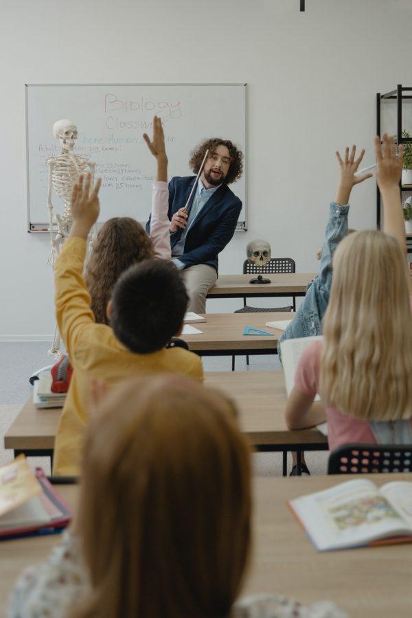 christian school teacher in the classroom